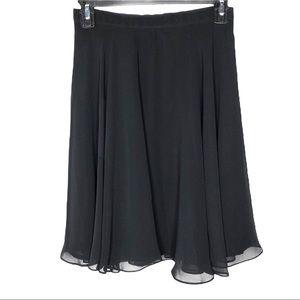 Vintage A. J. Bari Black Chiffon Pleated Skirt